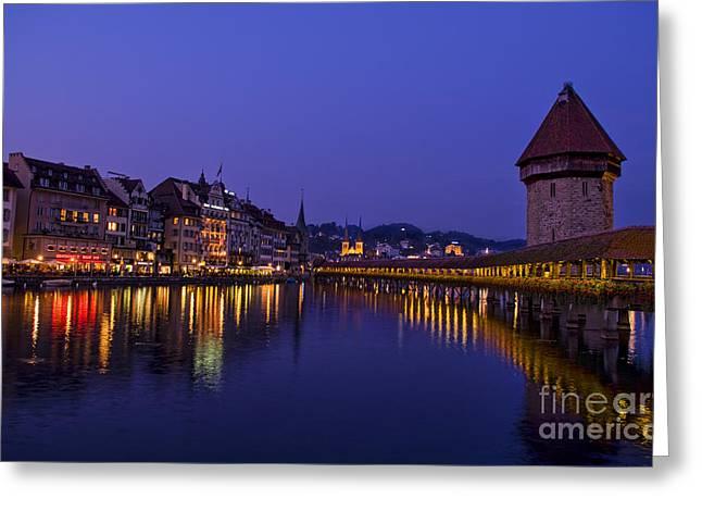 Luzern Greeting Cards - Kapelbrucke Bridge At Night, Switzerland Greeting Card by Bill Bachmann