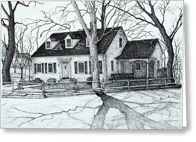 Tn Drawings Greeting Cards - Kappa Sigma House APSU Greeting Card by Janet Felts