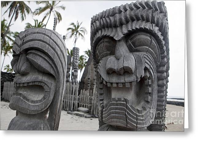 Wooden Sculpture Greeting Cards - Kapu Kii wooden tiki statue carvings Greeting Card by Jason O Watson