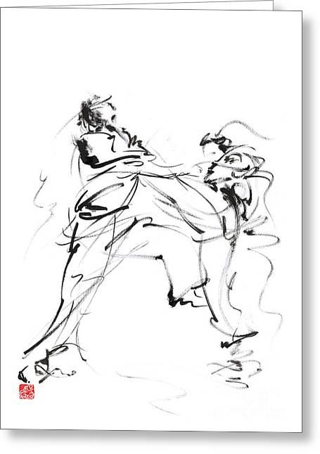 Karate Martial Arts Kyokushinkai Japanese Kick Oyama Ko Knock Out Japan Ink Sumi-e Greeting Card by Mariusz Szmerdt