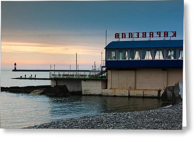 Beach Photography Greeting Cards - Karavelia Restaurant, Lighthouse Beach Greeting Card by Panoramic Images