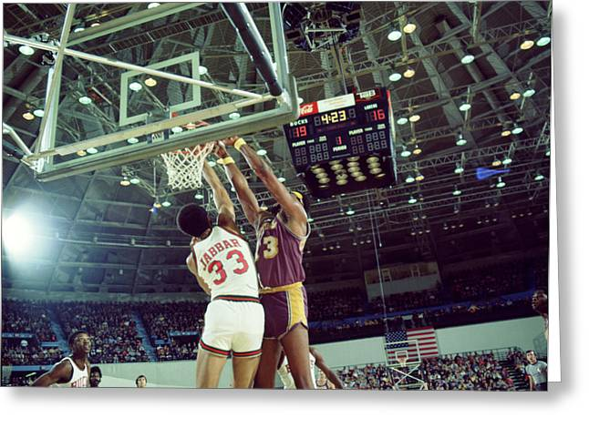 Los Angeles Lakers Greeting Cards - Kareem Abdul Jabbar  Greeting Card by Retro Images Archive