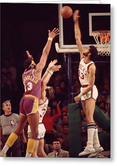 Sports Photography Greeting Cards - Kareem Abdul Jabbar Blocks Wilt Chamberlain Greeting Card by Retro Images Archive