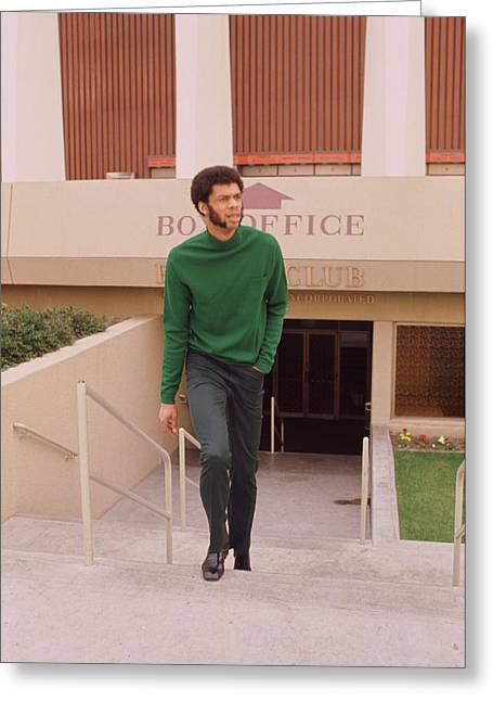 African-americans Greeting Cards - Kareem Abdul Jabbar Coming Up Stairs Greeting Card by Retro Images Archive