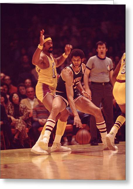 Compete Photographs Greeting Cards - Kareem Abdul Jabbar Dribles  Greeting Card by Retro Images Archive