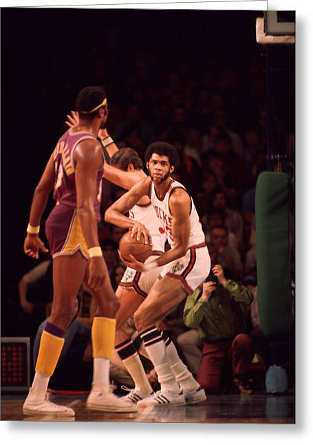 African-americans Greeting Cards - Kareem Abdul Jabbar Gets Rebound Greeting Card by Retro Images Archive