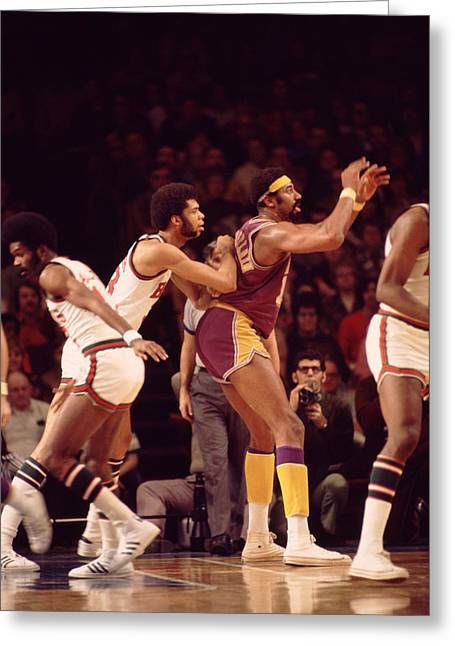 African-americans Greeting Cards - Kareem Abdul Jabbar Guards Wilt Chamberlain Greeting Card by Retro Images Archive