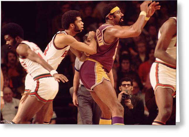 Kareem Abdul Jabbar Guards Wilt Chamberlain Greeting Card by Retro Images Archive