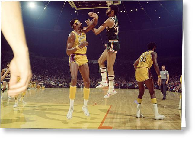 Sports Photography Greeting Cards - Kareem Abdul Jabbar  Greeting Card by Retro Images Archive