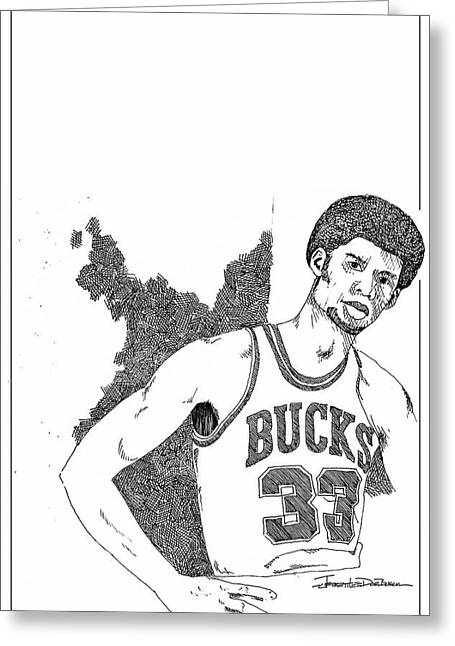 Recently Sold -  - Player Drawings Greeting Cards - Kareem Abdul Jabbar Greeting Card by Jerrett Dornbusch