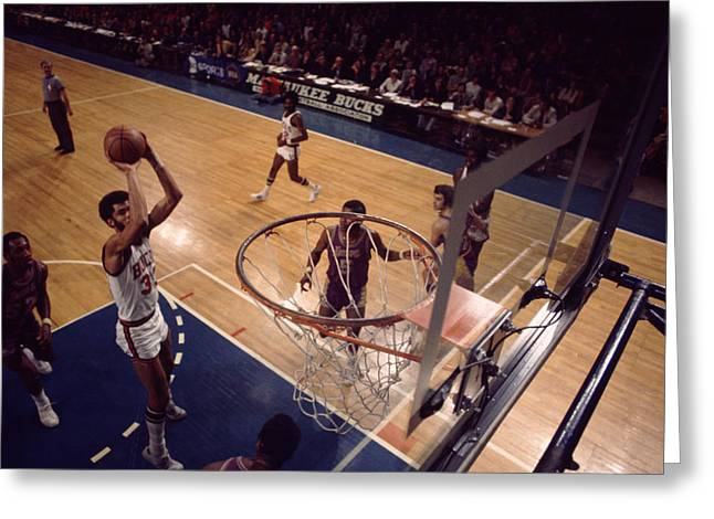 Compete Photographs Greeting Cards - Kareem Abdul Jabbar Jump Shot In The Paint Greeting Card by Retro Images Archive