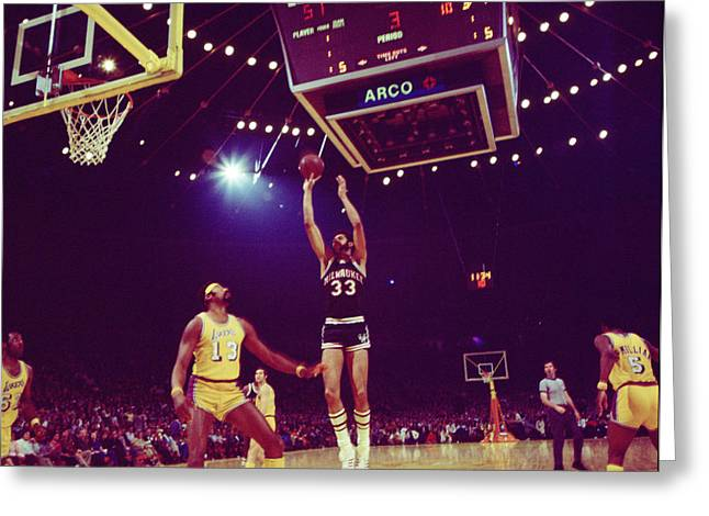 Mvp Photographs Greeting Cards - Kareem Jump Shot Greeting Card by Retro Images Archive