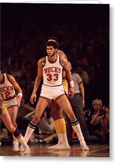 African-american Greeting Cards - Kareem Abdul Jabbar Looking For Pass Greeting Card by Retro Images Archive