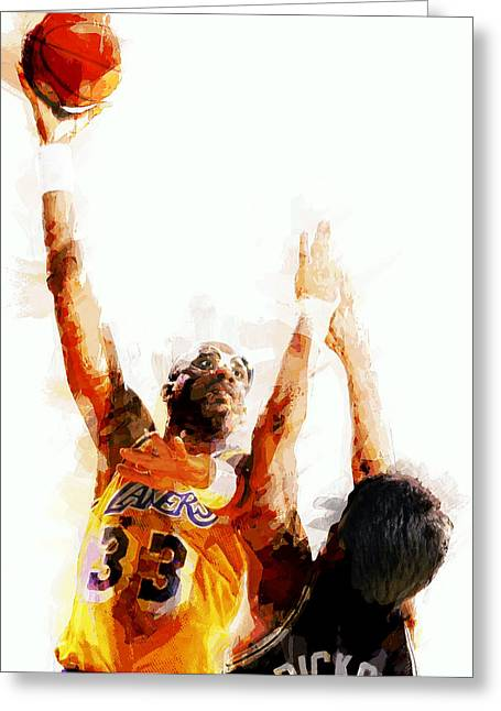 Lakers Digital Art Greeting Cards - Kareem Abdul Jabbar N B A Legend Greeting Card by Daniel Hagerman