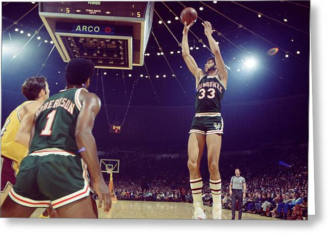 Defend Greeting Cards - Kareem Abdul Jabbar Shooter Greeting Card by Retro Images Archive