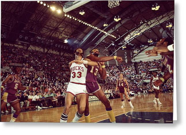 Los Angeles Lakers Greeting Cards - Kareem Abdul Jabbar Rebounding Greeting Card by Retro Images Archive