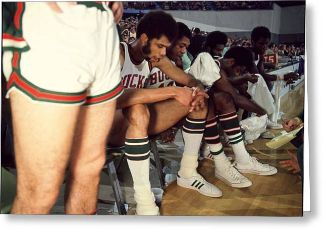 Mvp Photographs Greeting Cards - Kareem Abdul Jabbar Resting On Bench Greeting Card by Retro Images Archive