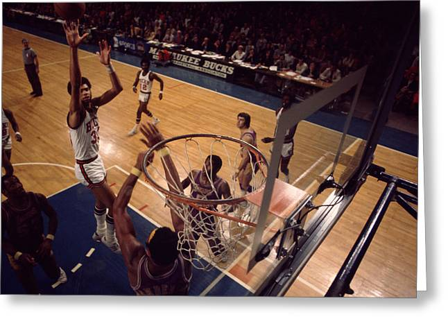 African-american Greeting Cards - Kareem Abdul Jabbar Shoots Jumper Greeting Card by Retro Images Archive