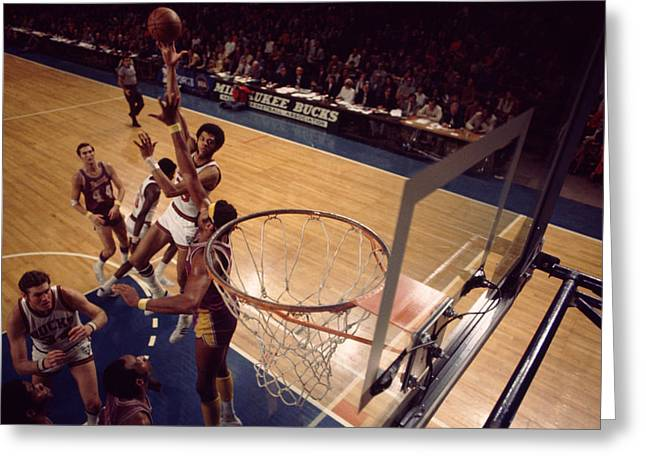 African-american Greeting Cards - Kareem Abdul Jabbar Sky Hook Vs. Wilt Chamberlain Greeting Card by Retro Images Archive