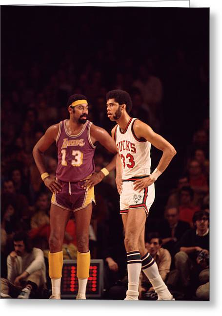 African-american Greeting Cards - Kareem Abdul Jabbar Stands With Wilt Chamberlain Greeting Card by Retro Images Archive