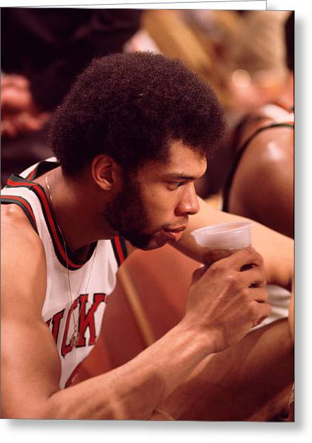 African-americans Greeting Cards - Kareem Abdul Jabbar Takes A Drink Greeting Card by Retro Images Archive