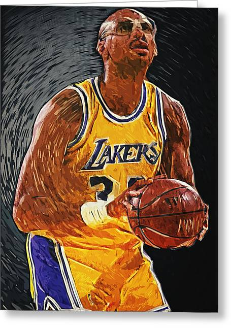 Magic Johnson Portrait Greeting Cards - Kareem Abdul-Jabbar Greeting Card by Taylan Soyturk
