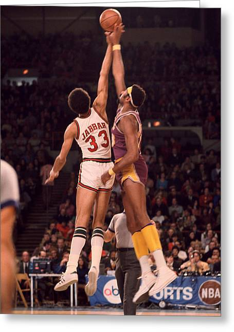 Sports Photography Greeting Cards - Kareem Abdul Jabbar Vs. Wilt Chamberlain Jump Ball Greeting Card by Retro Images Archive