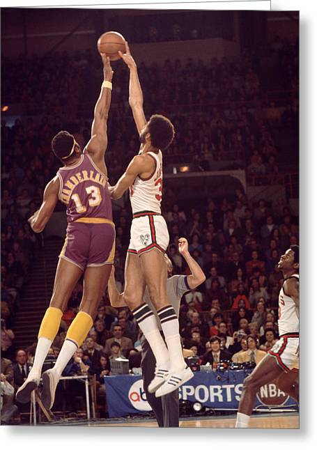 Compete Photographs Greeting Cards - Kareem Abdul Jabbar Vs. Wilt Chamberlain Tip Off Greeting Card by Retro Images Archive
