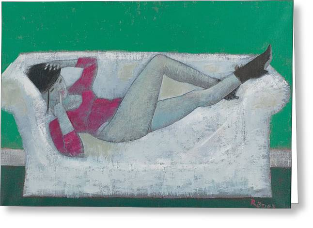 Odalisque Photographs Greeting Cards - Karen On The Settee Oil On Canvas Greeting Card by Endre Roder