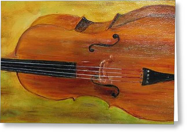 Green And Yellow Greeting Cards - Karens Cello Greeting Card by Carolyn Speer