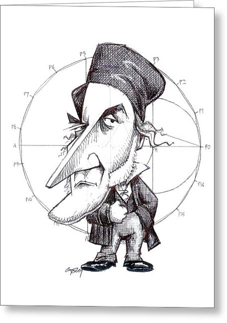 Surname G Greeting Cards - Karl Friedrich Gauss, caricature Greeting Card by Science Photo Library