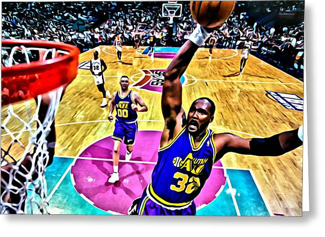 Slamdunk Greeting Cards - Karl Malone Greeting Card by Florian Rodarte