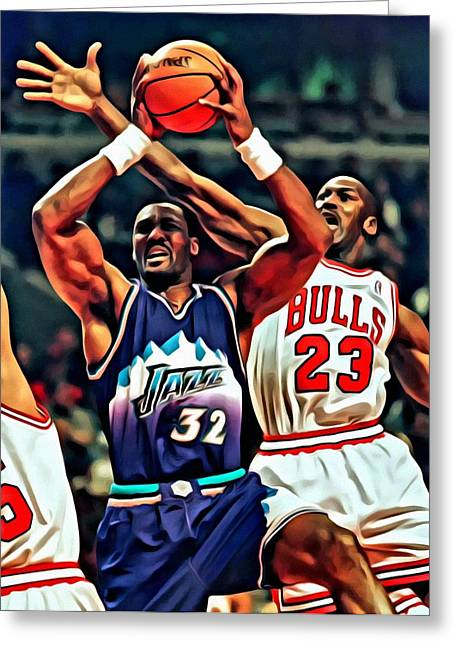 Chicago Bulls Greeting Cards - Karl Malone vs. Michael Jordan Greeting Card by Florian Rodarte