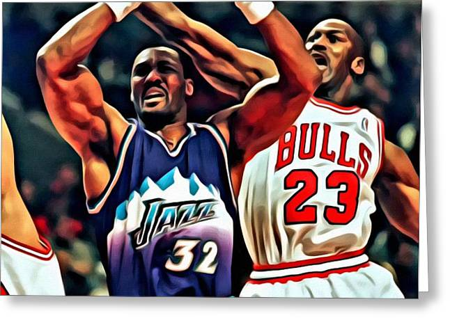 Karl Malone vs. Michael Jordan Greeting Card by Florian Rodarte