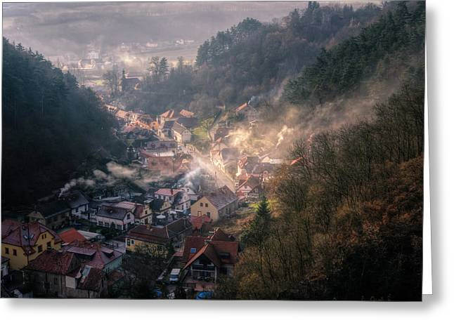 Historic Architecture Greeting Cards - Karlstejn Greeting Card by Joan Carroll