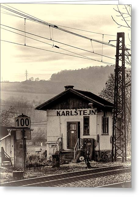 Sheds Greeting Cards - Karlstejn Railroad Shack Greeting Card by Joan Carroll
