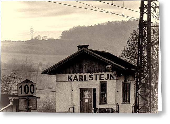 Karlstejn Railroad Shack Greeting Card by Joan Carroll