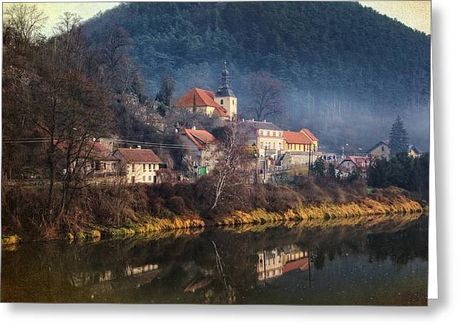 Travel Prague Greeting Cards - Karlstejn River Reflections Greeting Card by Joan Carroll