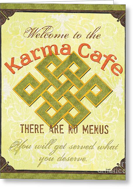 Retro Typography Greeting Cards - Karma Cafe Greeting Card by Debbie DeWitt