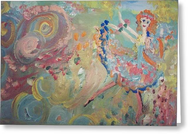 Karma Cancan Fairy Greeting Card by Judith Desrosiers