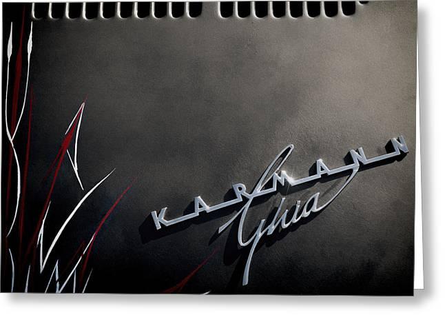 Ghia Greeting Cards - Karmann Black Greeting Card by Douglas Pittman