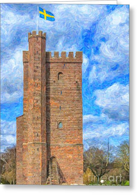 Old Town Digital Art Greeting Cards - Karnan Helsingborg Painting Greeting Card by Antony McAulay