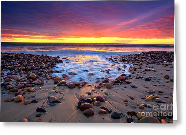 Pebbles Greeting Cards - Karrara Sunset Greeting Card by Bill  Robinson