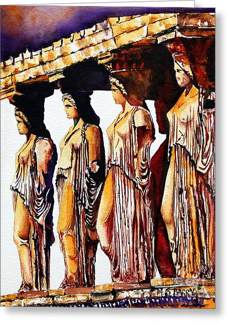 Maiden Greeting Cards - Karyatides Greeting Card by Maria Barry