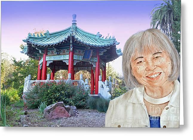 Golden Gate Drawings Greeting Cards - Karyl Matsumoto Mayor of So San Francisco Version III Greeting Card by Jim Fitzpatrick