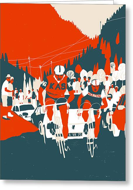 Bike Race Greeting Cards - Kas-Molteni Greeting Card by Eliza Southwood