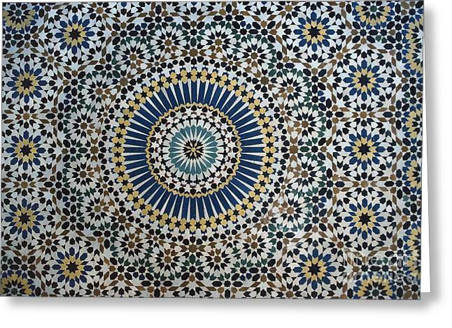 White Ceramics Greeting Cards - Kasbah of Thamiel glaoui zellij tilework detail  Greeting Card by Moroccan School