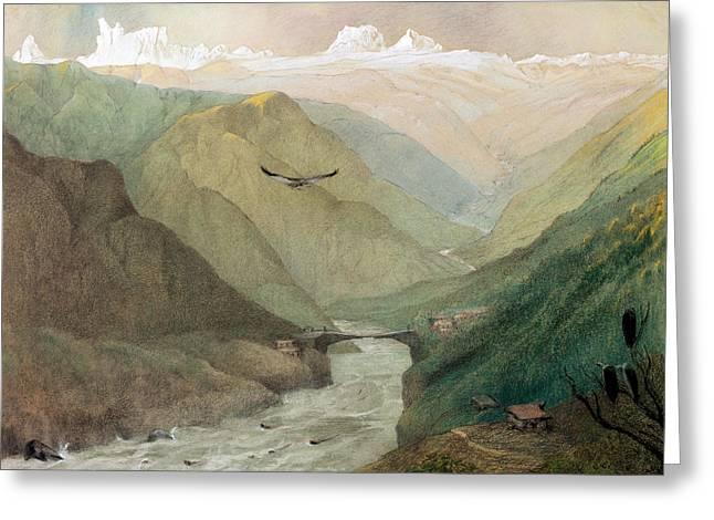 Himalayas Greeting Cards - Kashmir, C.1860 Wc Greeting Card by George Landseer