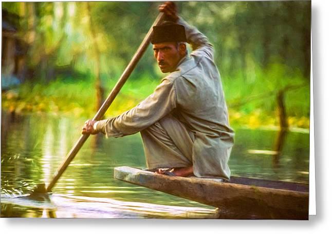 Dal Lake Greeting Cards - Kashmir Dream impasto Greeting Card by Steve Harrington