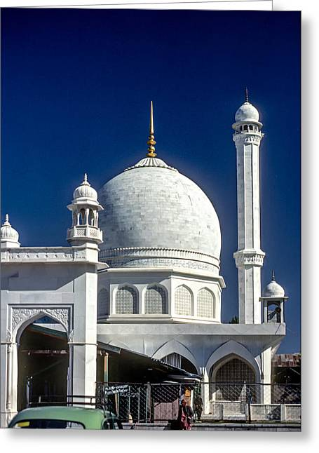 White Marble Greeting Cards - Kashmir Mosque Greeting Card by Steve Harrington